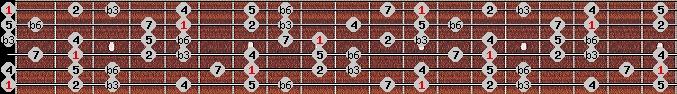 harmonic minor scale on key E for Guitar
