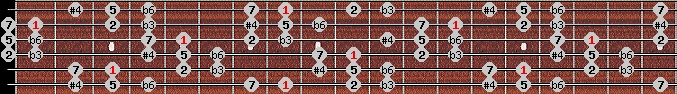 hungarian minor (gipsy) scale on key C for Guitar