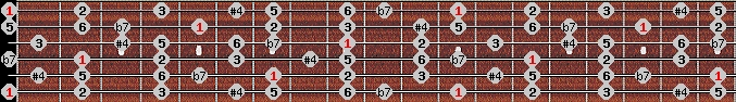 lydian b7 scale on key E for Guitar