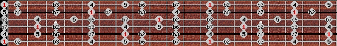 phrygian scale on key E for Guitar