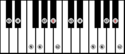 dorian b2 scale on key A#/Bb for Piano