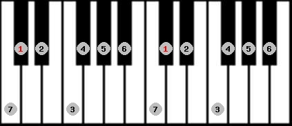 ionian scale on key C#/Db for Piano