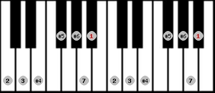 leading whole tone scale on key A#/Bb for Piano