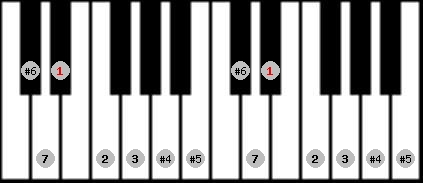 leading whole tone scale on key D#/Eb for Piano